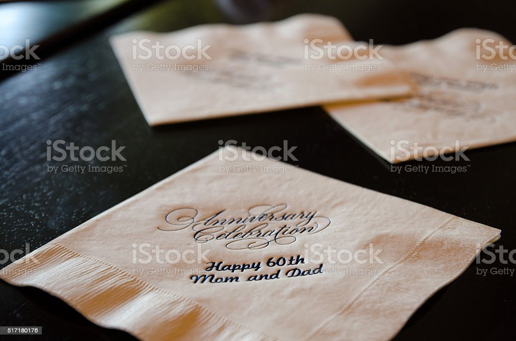 Anniversary napkin stock photo