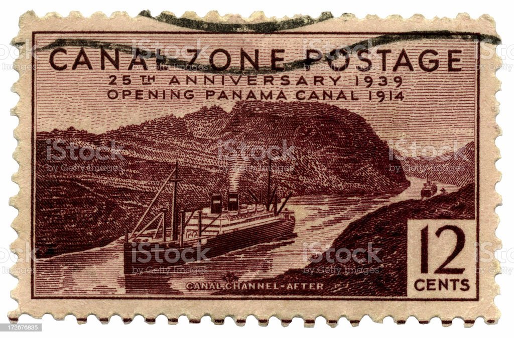 Anniversary of the Panama Canal on Postage Stamp royalty-free stock photo