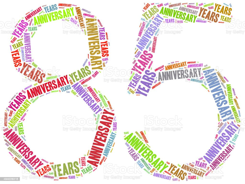 Anniversary or jubilee concept. Word cloud illustration stock photo