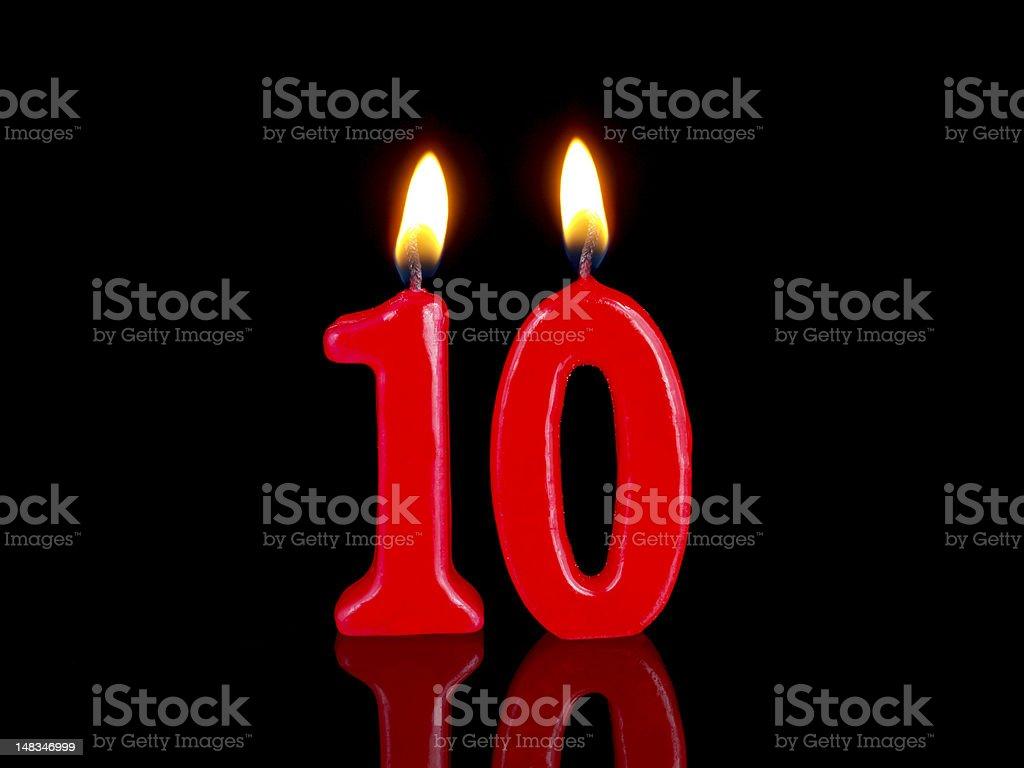 Anniversary-birthday  candles. Nr. 10 royalty-free stock photo