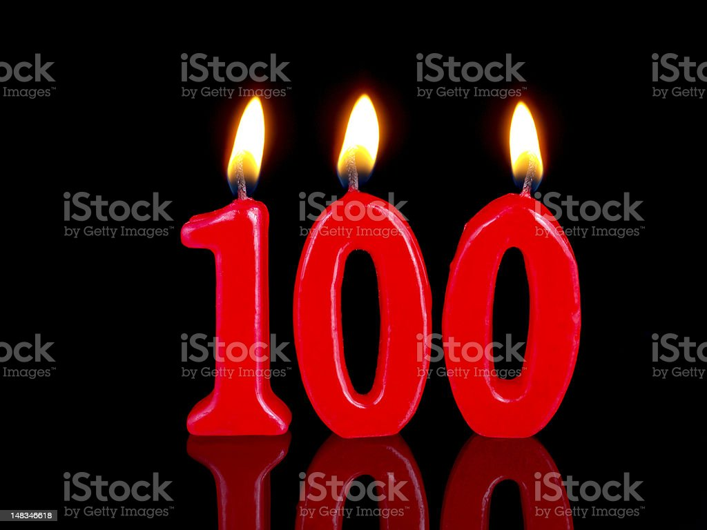 Anniversary-birthday  candles. Nr. 100 stock photo