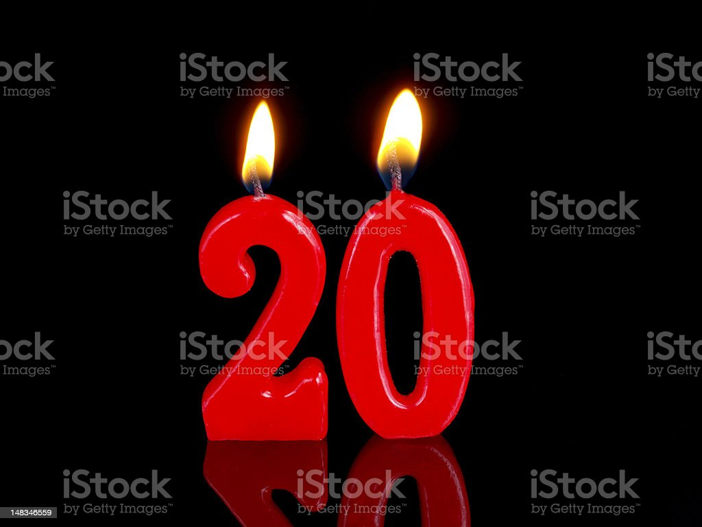 Anniversary-birthday  candles. Nr. 20 stock photo