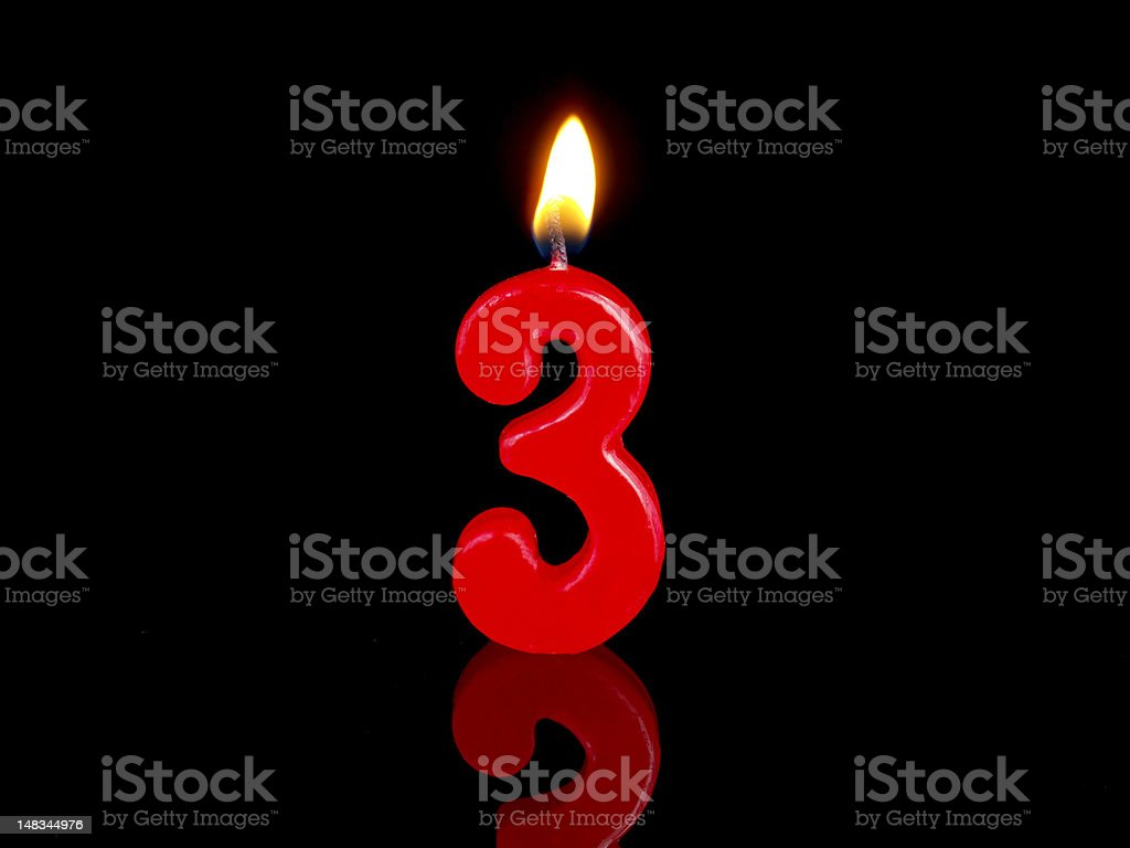 Anniversary-birthday  candles. Nr. 3 royalty-free stock photo
