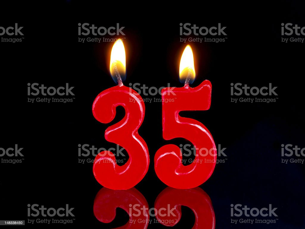 Anniversary-birthday  candles. Nr. 35 stock photo