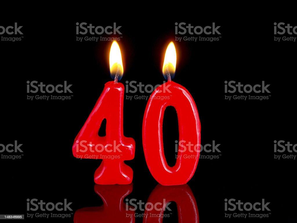 Anniversary-birthday  candles. Nr. 40 stock photo