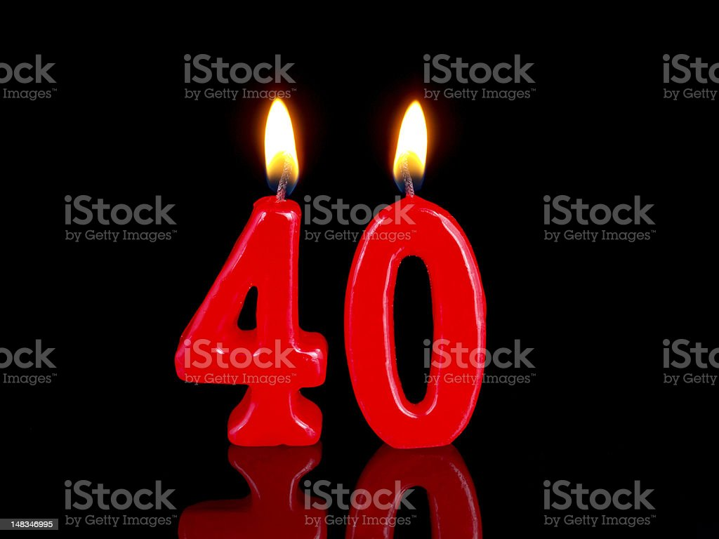 Anniversary-birthday  candles. Nr. 40 stock photo