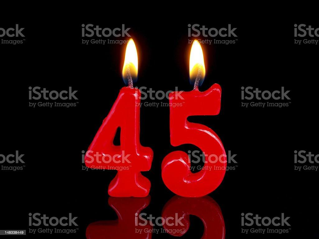 Anniversary-birthday  candles. Nr. 45 stock photo
