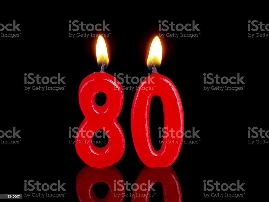 Anniversary-birthday  candles. Nr. 80 stock photo