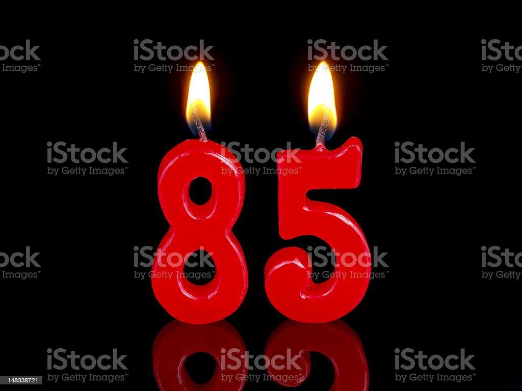 Anniversary-birthday  candles. Nr. 85 stock photo