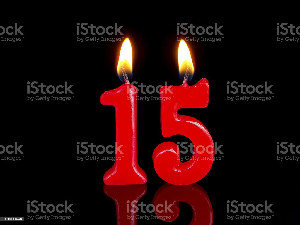 Anniversary-birthday  candles. stock photo
