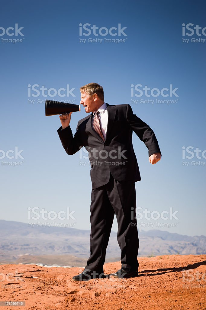 Announcement Business Man with Megaphone royalty-free stock photo