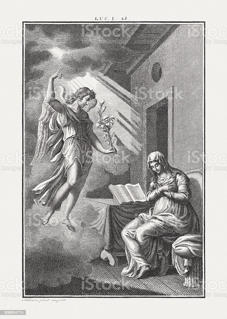 Announcement of the birth of Jesus, copper engraving, published c.1850 stock photo