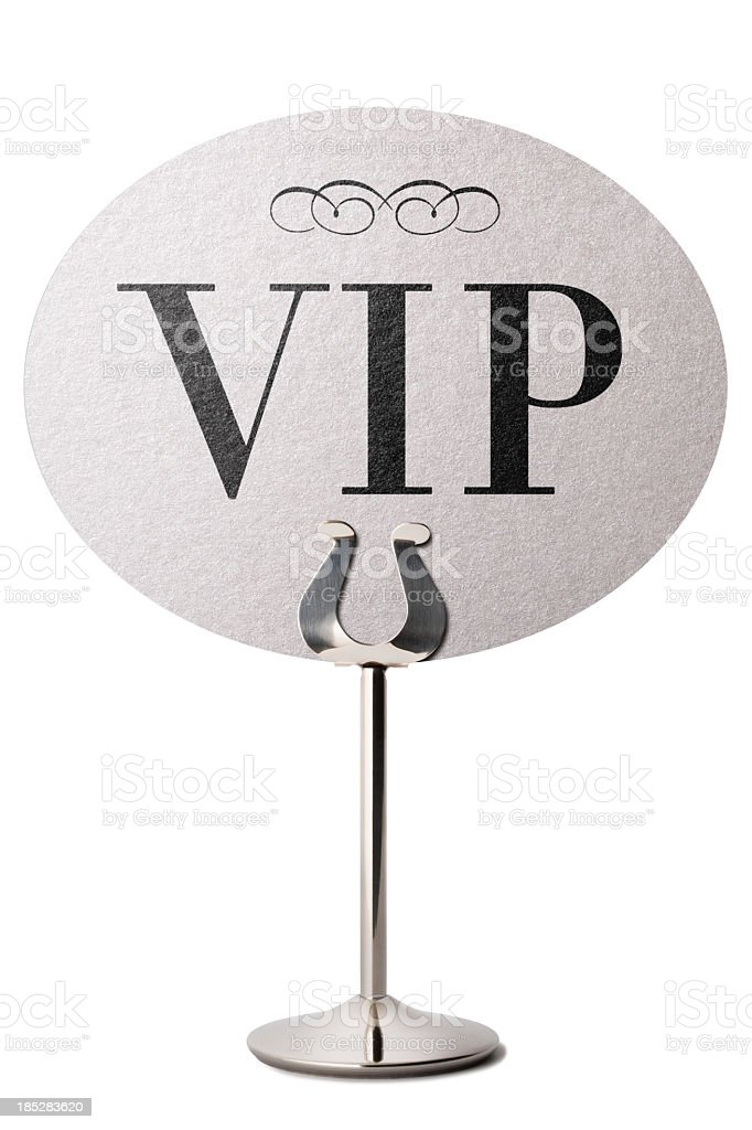 VIP announcement table stand stock photo