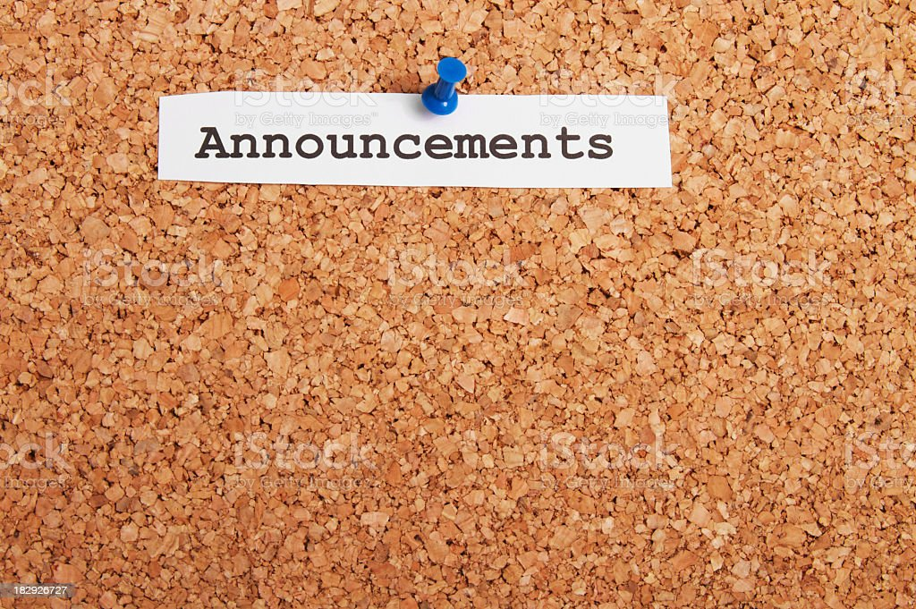 Announcements Bulletin Board stock photo