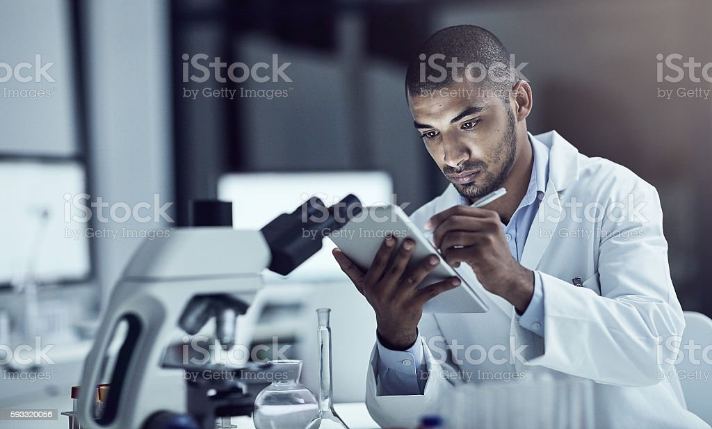 Announcing his findings to the world stock photo