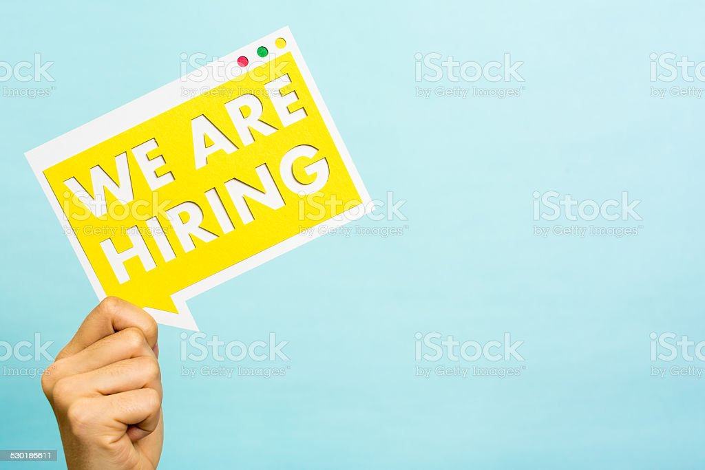 Announcing we are hiring message, copyspace, Job board, Recruitment. stock photo