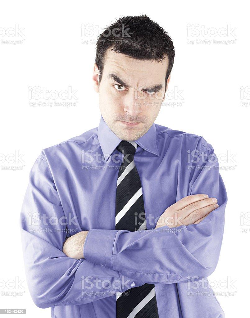 Annoyed businessman on white background royalty-free stock photo