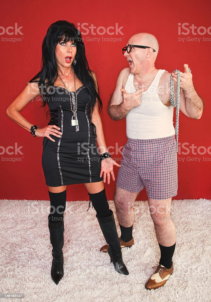 Annoyed Dominatrix and Client royalty-free stock photo