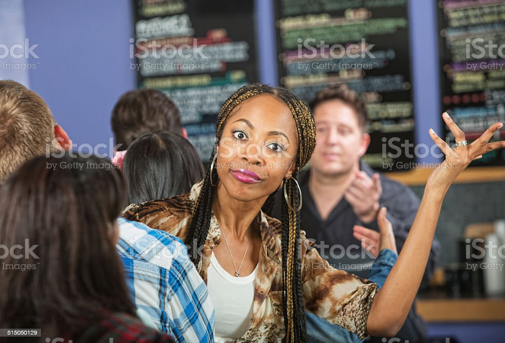 Annoyed Lady in Cafe stock photo