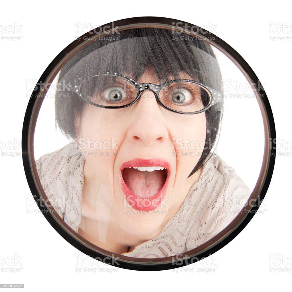 Annoying Neighbor In Door Peephole stock photo