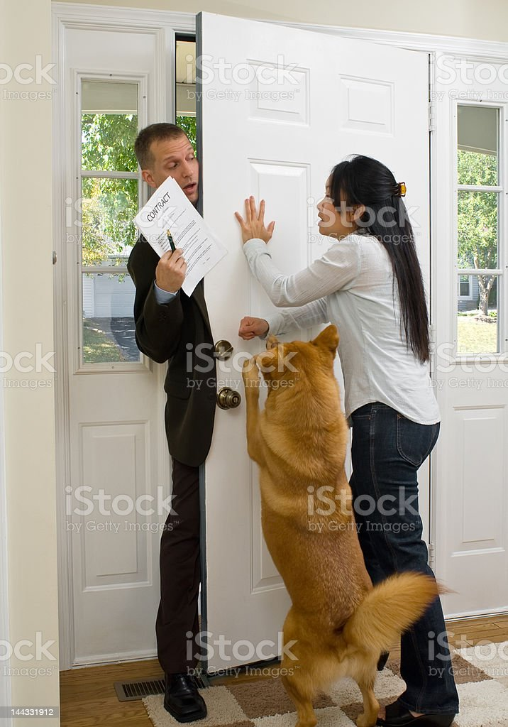 Annoying salesman stock photo