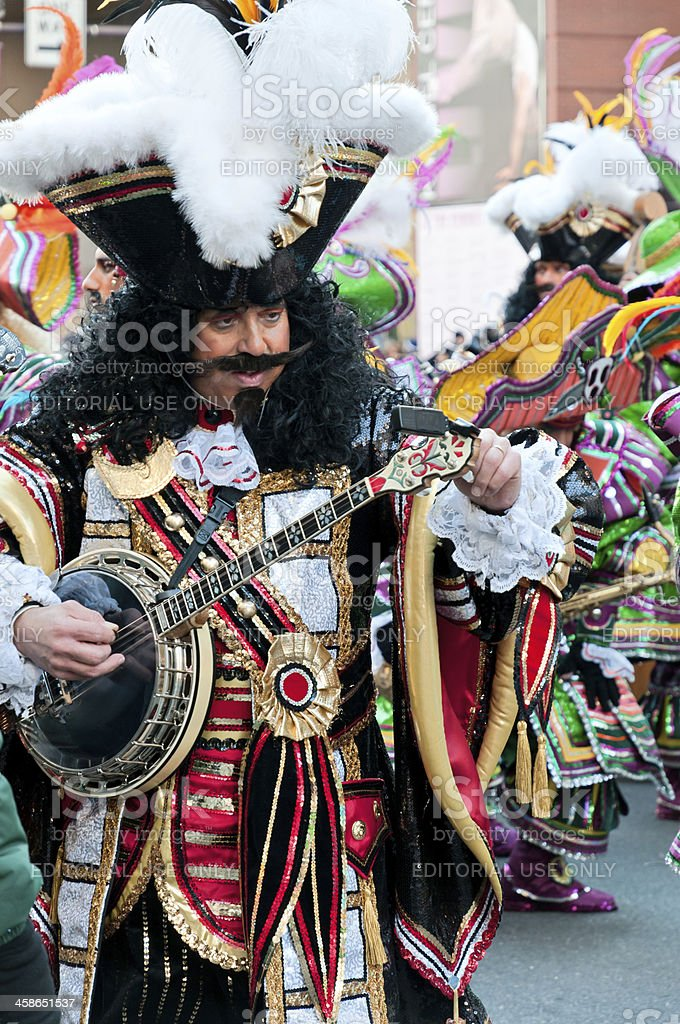Annual 2009 Philadelphia Mummers Parade - Pirate with banjo stock photo