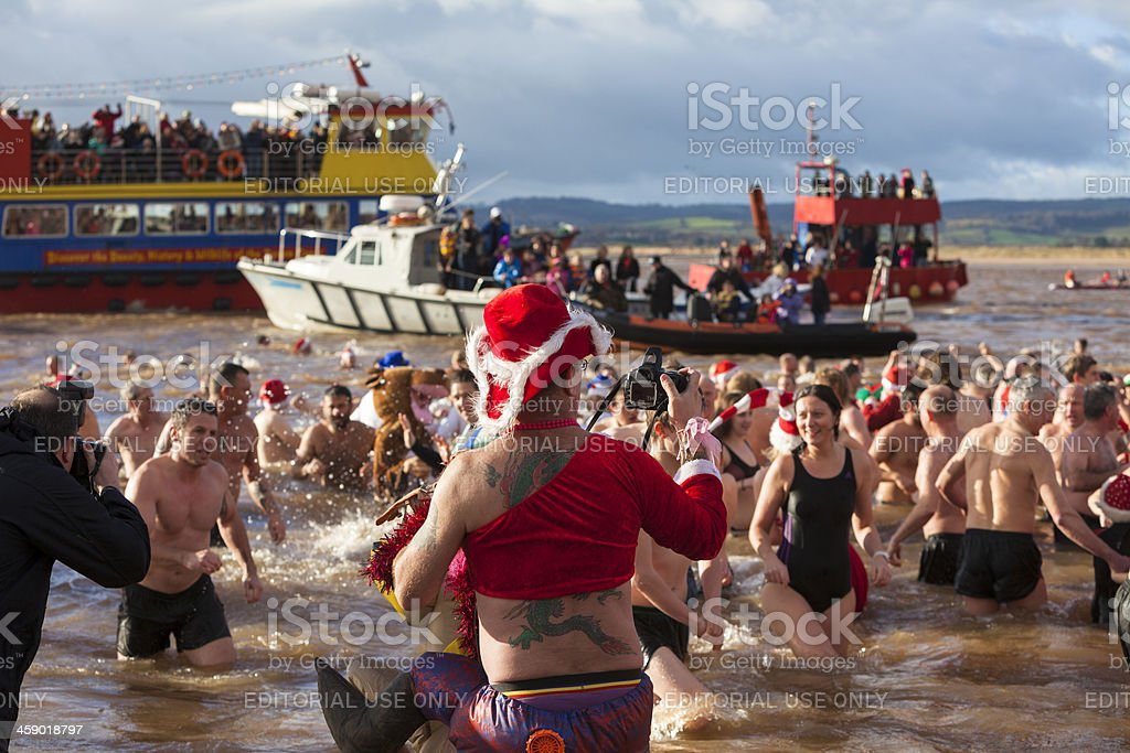 Annual Christmas Day Swim:  Exmouth, Devon, 2012 stock photo