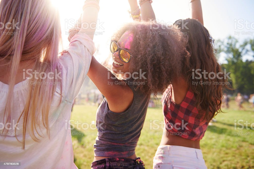 Annual festival only with my besties stock photo