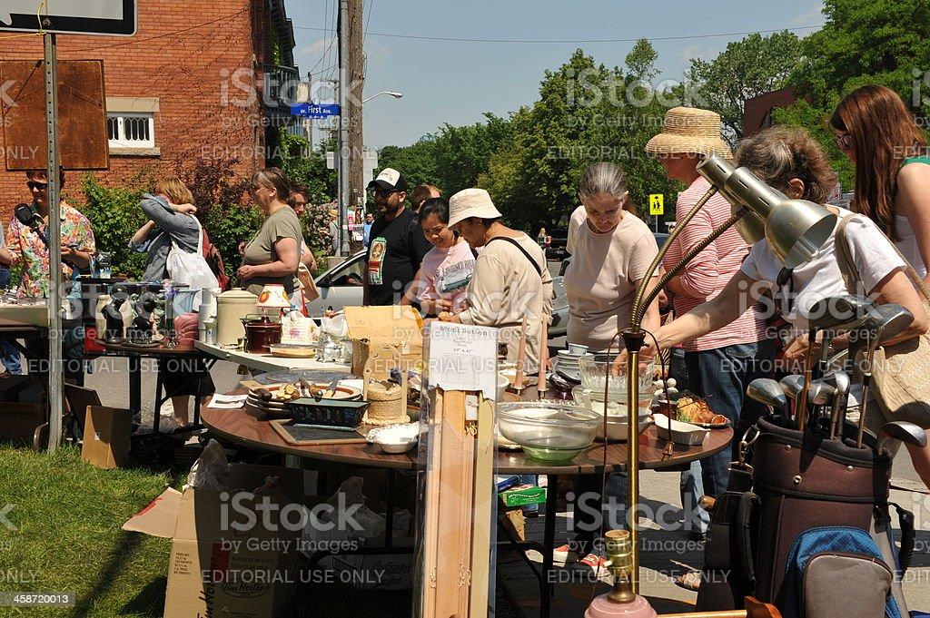 Annual Glebe garage sale in Ottawa royalty-free stock photo