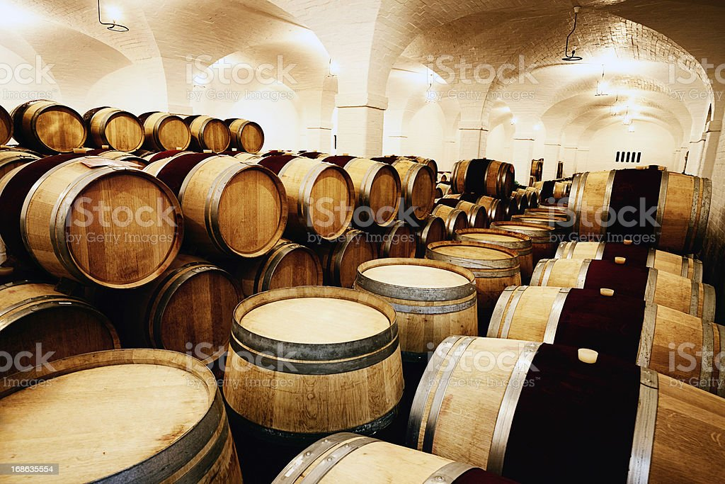 Annual grape harvest maturing into vintage wine in cellar royalty-free stock photo
