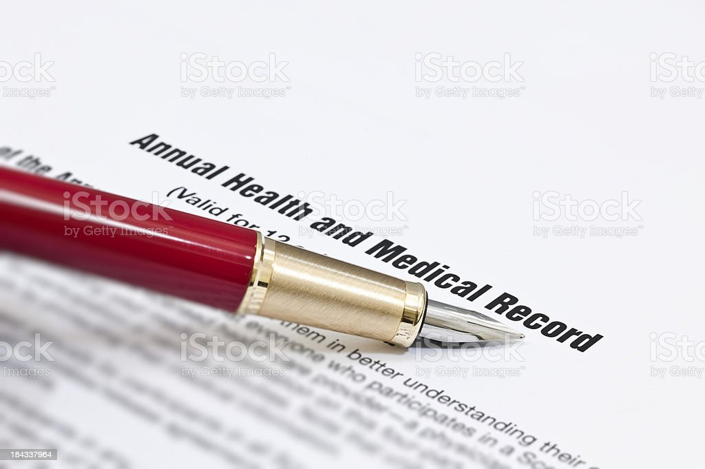Annual Health and Medical Record stock photo