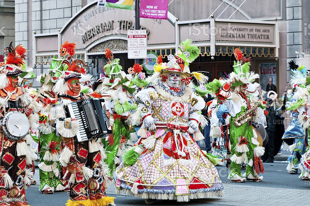Annual Mummers parade in front of Merriam Theater stock photo