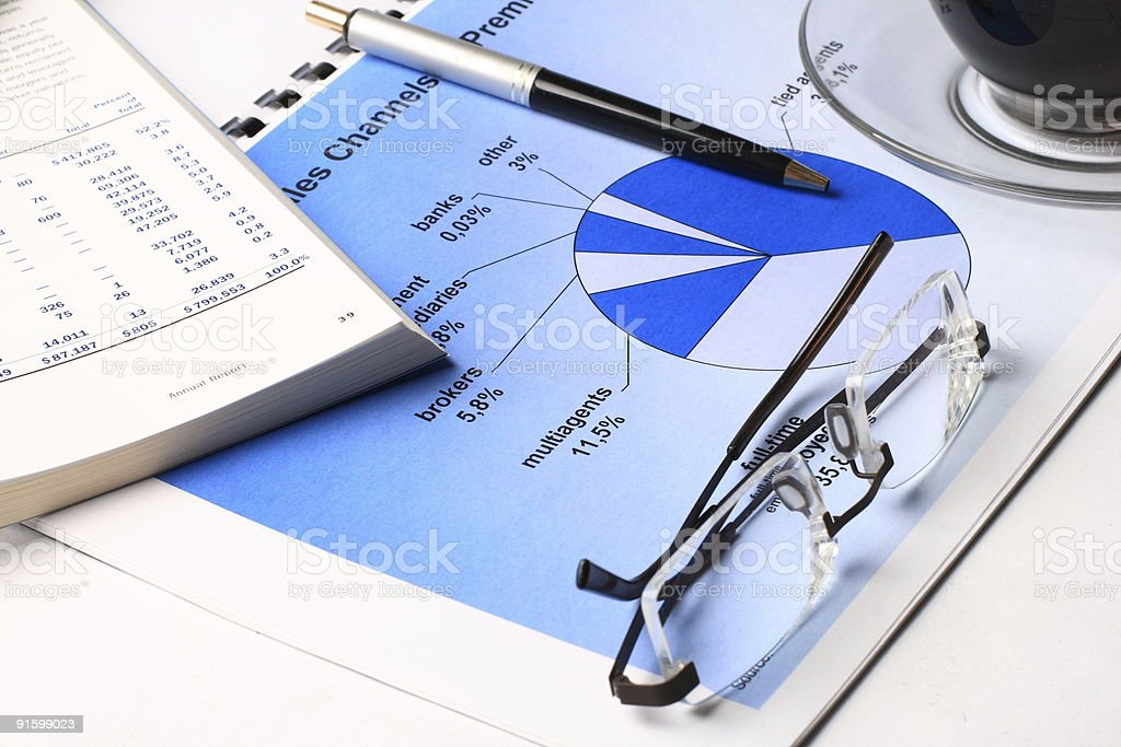 Annual report with coffee and glasses royalty-free stock photo