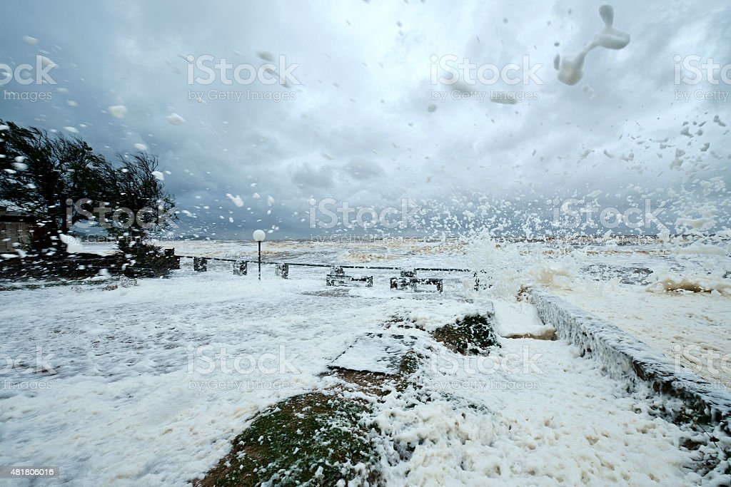 Annual spring storm and hurricane in Uruguay stock photo