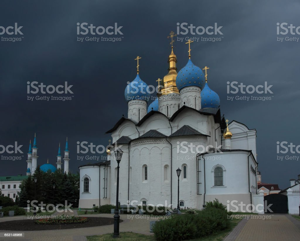 Annunciation Cathedral of the Kazan Kremlin before a storm in Kazan stock photo