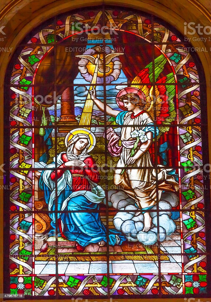 Annunciation Mary Angel Stained Glass San Francisco el Grande Madrid stock photo