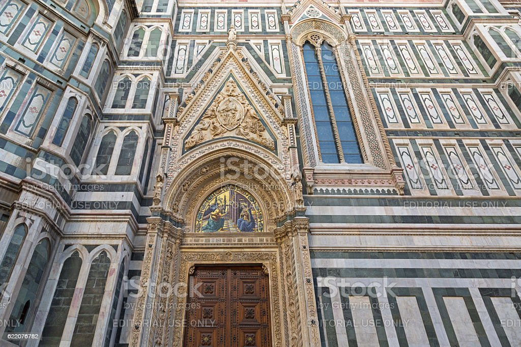 Annunciation mosaic on Almond doors of Florence Cathedral, Florence, Italy stock photo