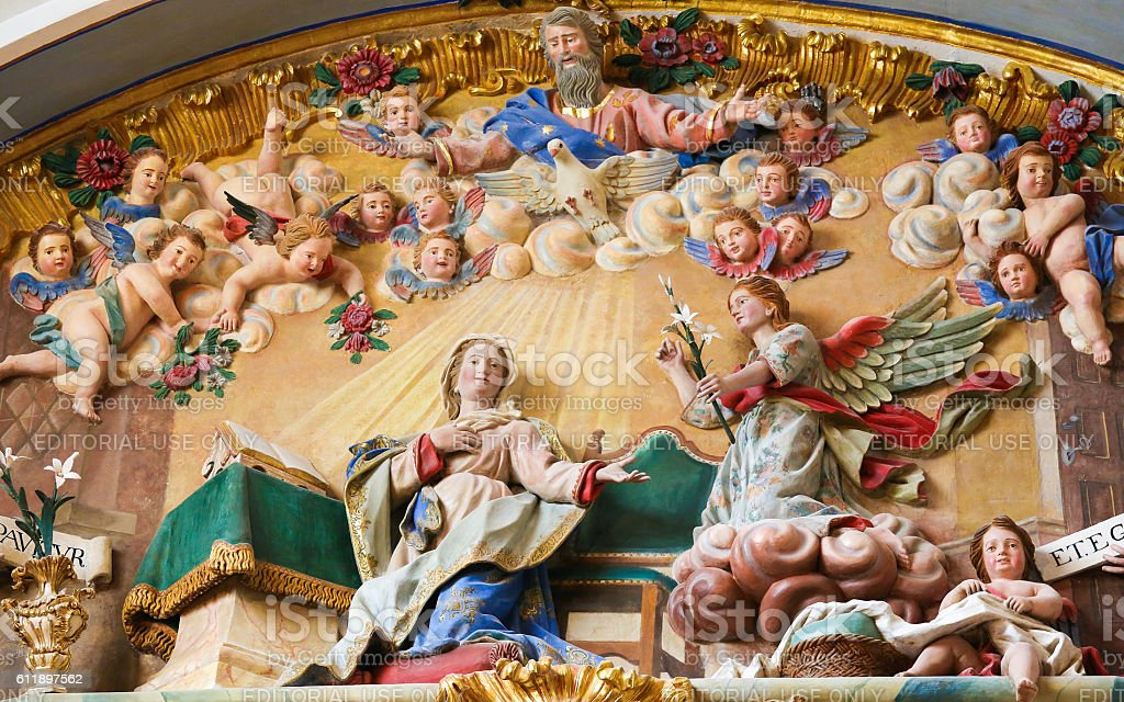 Annunciation sculpture in the Cathedral of Burgos stock photo