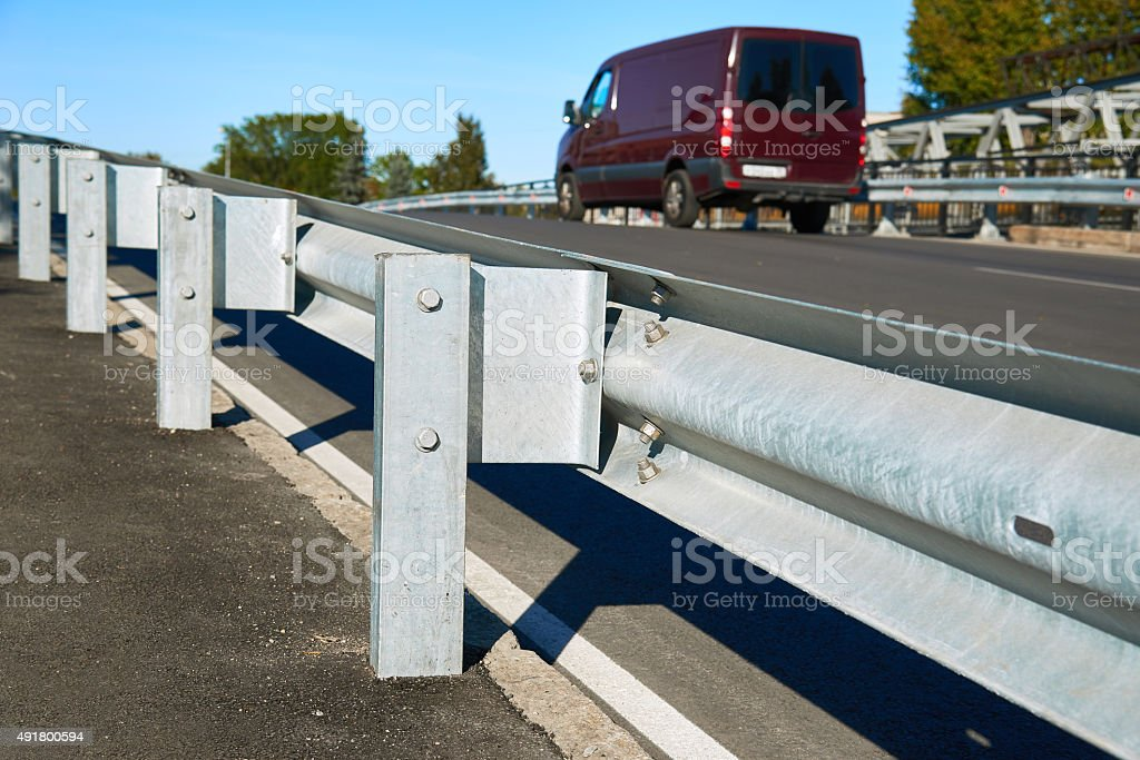 Anodized safety steel barrier stock photo