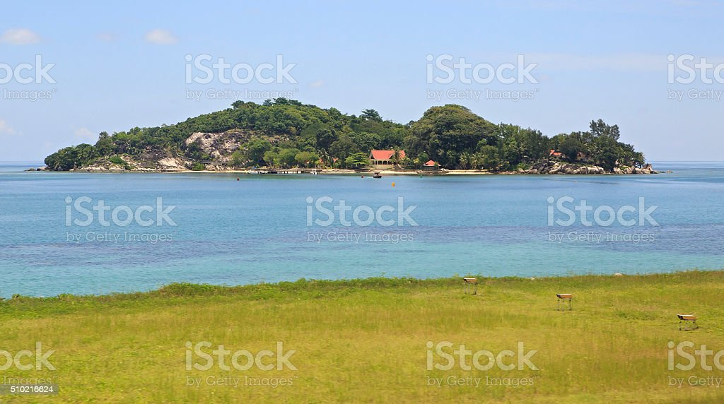 Anonyme Island is small granitic island in the Seychelles stock photo