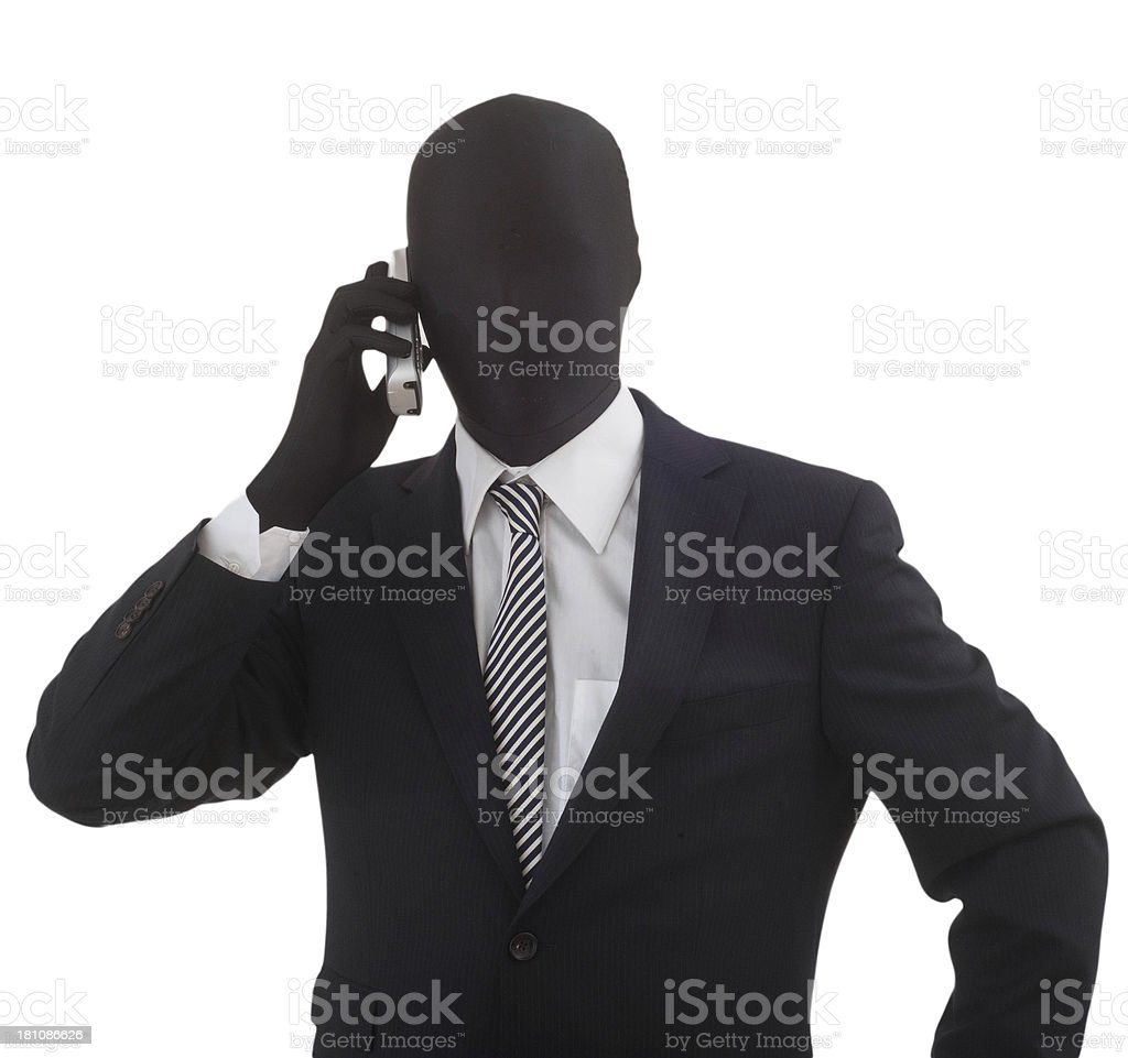 anonymous business man at phone - anonymer Businessmann stock photo