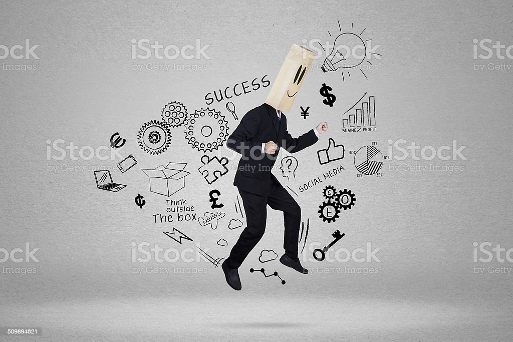 Anonymous businessman chase his target stock photo