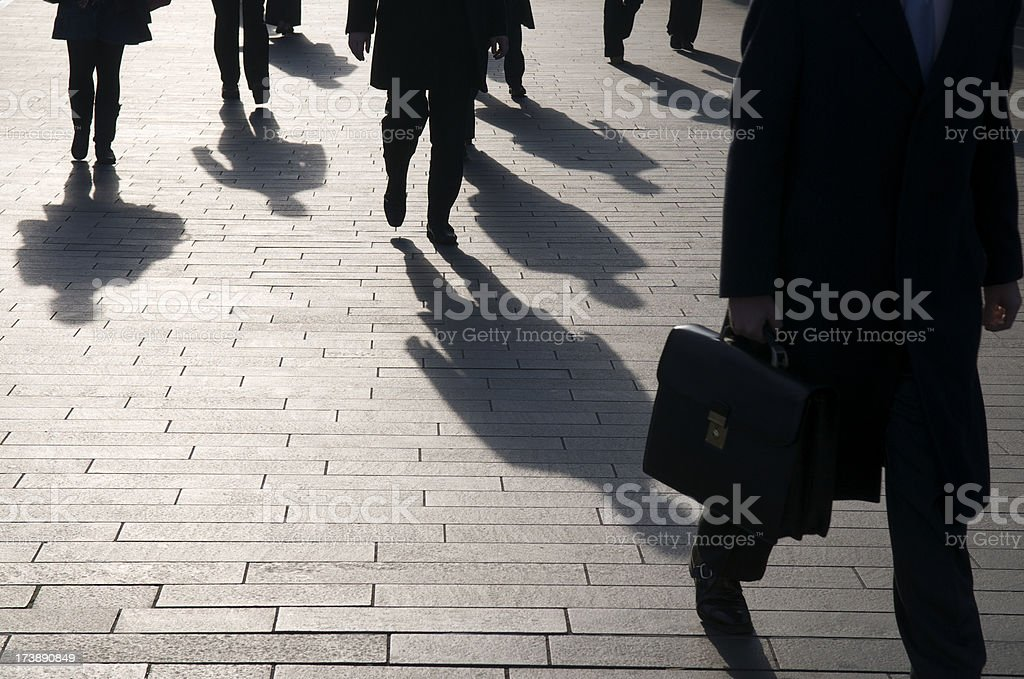 Anonymous Businessman Commuter Shadows with Copy Space royalty-free stock photo
