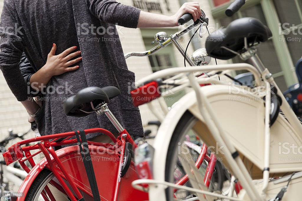 Anonymous Couple and Bicycles royalty-free stock photo