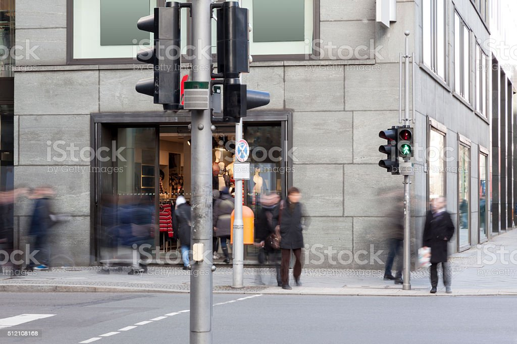 Anonymous Crowd of People Walking on the Street stock photo