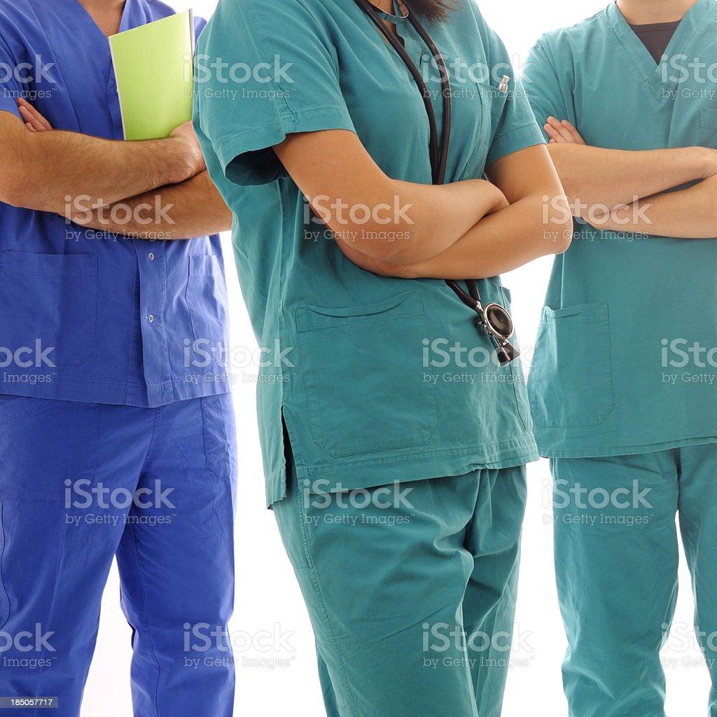 Anonymous Doctors Team.Isolated. stock photo