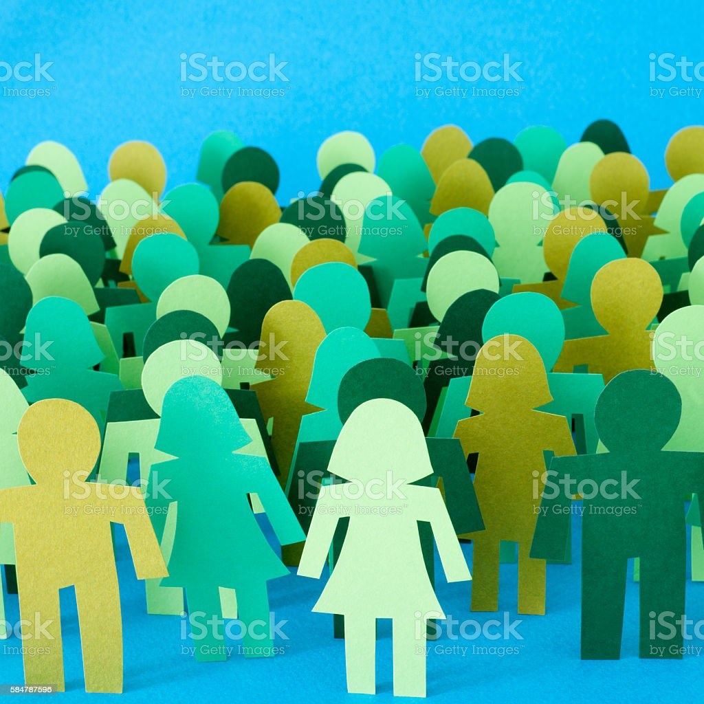 Anonymous green crowd stock photo