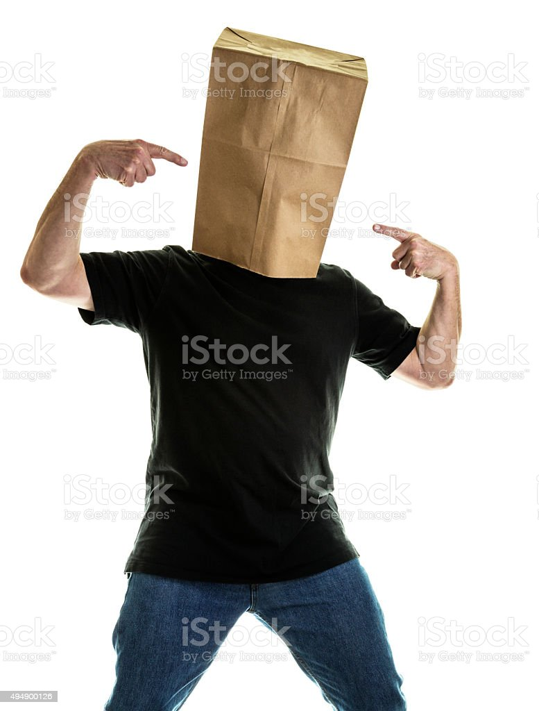 Anonymous Man Wearing Paper Bag Pointing At Head stock photo
