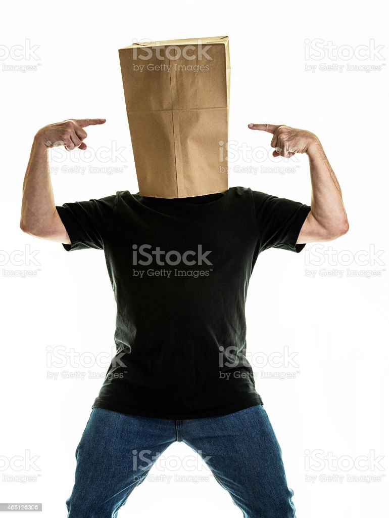 Anonymous Paper Bag Covered Head Man stock photo