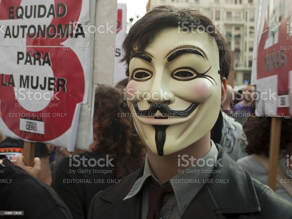 Anonymous protester stock photo